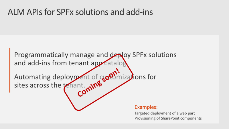Slide: ALM APIs for SPFx solutions & add-ins